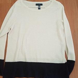 Karen scott white and navy blue sweater